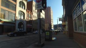 Pedestrian Perspective Walking on Pittsburgh City Intersection. PITTSBURGH, PA - Circa March, 2018 - A pedestrian's personal perspective walking on the streets stock video