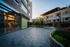 Pedestrian plaza and buildings in downtown Greenville, South Car Royalty Free Stock Image