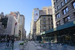 Pedestrian plaza in the Flatiron District of NYC royalty free stock photo