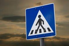Pedestrian prossing. Pedestrian crossing traffic sign against twilight sky Royalty Free Stock Photos