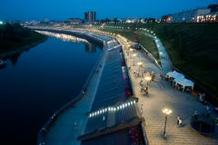 Pedestrian quay on Tura river in Tyumen Royalty Free Stock Photo