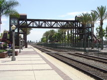 Pedestrian Rail Crossing. Overhead pedestrian rail crossing at Train Station in Fullerton, California Stock Photo