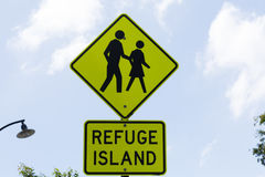 Pedestrian Refuge Sign,. Pedestrian Refuge, Road Crossing sign, New South Wales, Australia Royalty Free Stock Photography