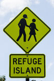 Pedestrian Refuge Sign,. Pedestrian Refuge, Road Crossing sign, New South Wales, Australia Stock Photography