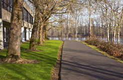 Pedestrian road along the Willamette river. Stock Photography
