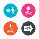 Pedestrian road icon. Bicycle path trail sign Royalty Free Stock Photo