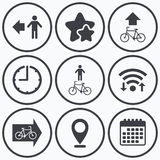 Pedestrian road icon. Bicycle path trail sign. Royalty Free Stock Photos