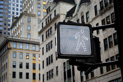 Pedestrian road sign. Closeup of pedestrian crossing sign isolated Stock Photo