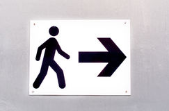 Pedestrian route direction icon and direction on white Royalty Free Stock Photo