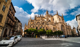 Pedestrian's view of the Segovia Cathedral, in Spain. Royalty Free Stock Photo