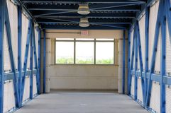 Pedestrian safe overpass in train station Royalty Free Stock Photography