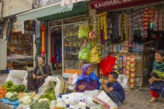 Pedestrian shopping street with market for tourists and sellers stock photography
