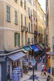 Pedestrian shopping street in Old Nice Stock Photo