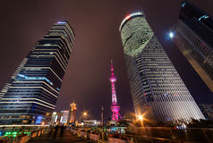 Pedestrian side of Century Avenue at night, Shanghai, China Stock Photography