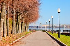 Pedestrian sidewalk along the banks of the River Volga. Stock Photography