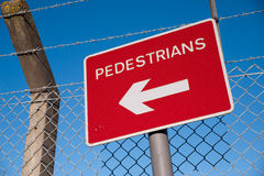 Pedestrian sign. Sign directing pedestrians along the walkway Royalty Free Stock Photos