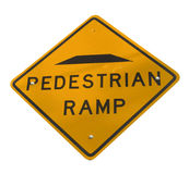 Pedestrian Sign. A Pedestrian Ramp Sign Isolated on White stock image