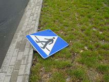 Pedestrian sign. On the road after accident stock image