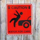 Pedestrian sign - Caution Stock Photography