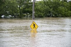 Flooding. A pedestrian sign in water during a major flood Stock Images