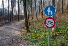 Pedestrian sign in forest for tourists Stock Images