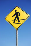 Pedestrian sign. Pedestrian traffic sign against blue sky Stock Images