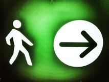 Pedestrian signal direction. Detail information signal for pedestrians Stock Image