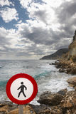 Pedestrian signal in a mediterranean coastine landscape. Alicant Royalty Free Stock Photography