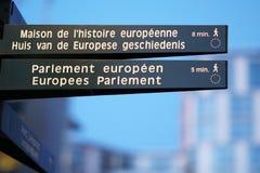 Pedestrian signpost. Bilingual pedestrian signpost towards the European Parliament, Parlement européen and the Maison de l`Économie Européenne French, Huis Royalty Free Stock Image