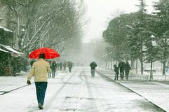 Pedestrian in a snowy day Stock Photos