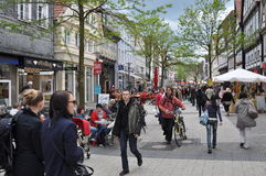 Pedestrian street. A pedestrian street in Germany, in a typical city, showing an active regional downtown economy, contrasting with southern european countries Royalty Free Stock Photos
