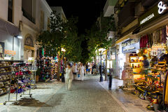 Pedestrian street of Agios Nikolaos, Greece Royalty Free Stock Image