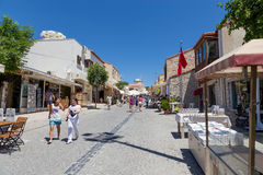 Pedestrian street, Alacati, Izmir province, Turkey. Alacati, well known for its architecture, vineyards and windmills is a popular summer tourist destination Stock Image