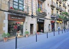 Pedestrian street in Barcelona Stock Image