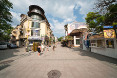 Pedestrian street in Bourgas, Bulgaria Royalty Free Stock Image
