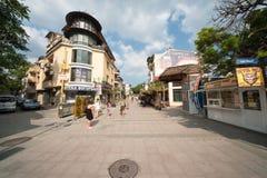 Pedestrian street in Bourgas, Bulgaria Royalty Free Stock Image