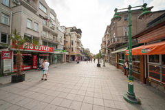 Pedestrian street in Burgas in Bulgaria Royalty Free Stock Images