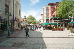 Pedestrian street in Burgas, Bulgaria Stock Photos