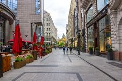 Pedestrian street in center of Budapest, Hungary stock photos