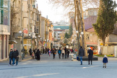 Pedestrian street in the center of Burgas in winter, Bulgaria Royalty Free Stock Images