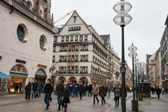 Pedestrian street in the center of Munich Royalty Free Stock Photo