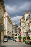 Pedestrian street in downtown Bucharest royalty free stock photo