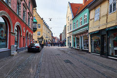 The pedestrian street in elsinore Royalty Free Stock Images