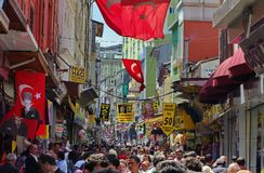Pedestrian street in Istanbul Stock Image