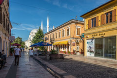 The pedestrian street known as Sheshi in Shkodra. Royalty Free Stock Images