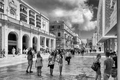 Pedestrian street of La Valletta - Malta Stock Photo