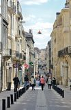 Shopping street in the French city Bordeaux Royalty Free Stock Image