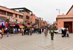Pedestrian street in Marrakesh, Morocco Stock Photography