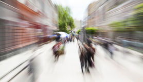 Pedestrian street motion zoom blurred background Royalty Free Stock Photos