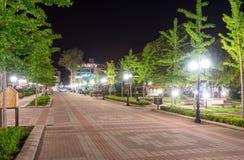 Pedestrian street in the night Pomorie, Bulgaria stock image